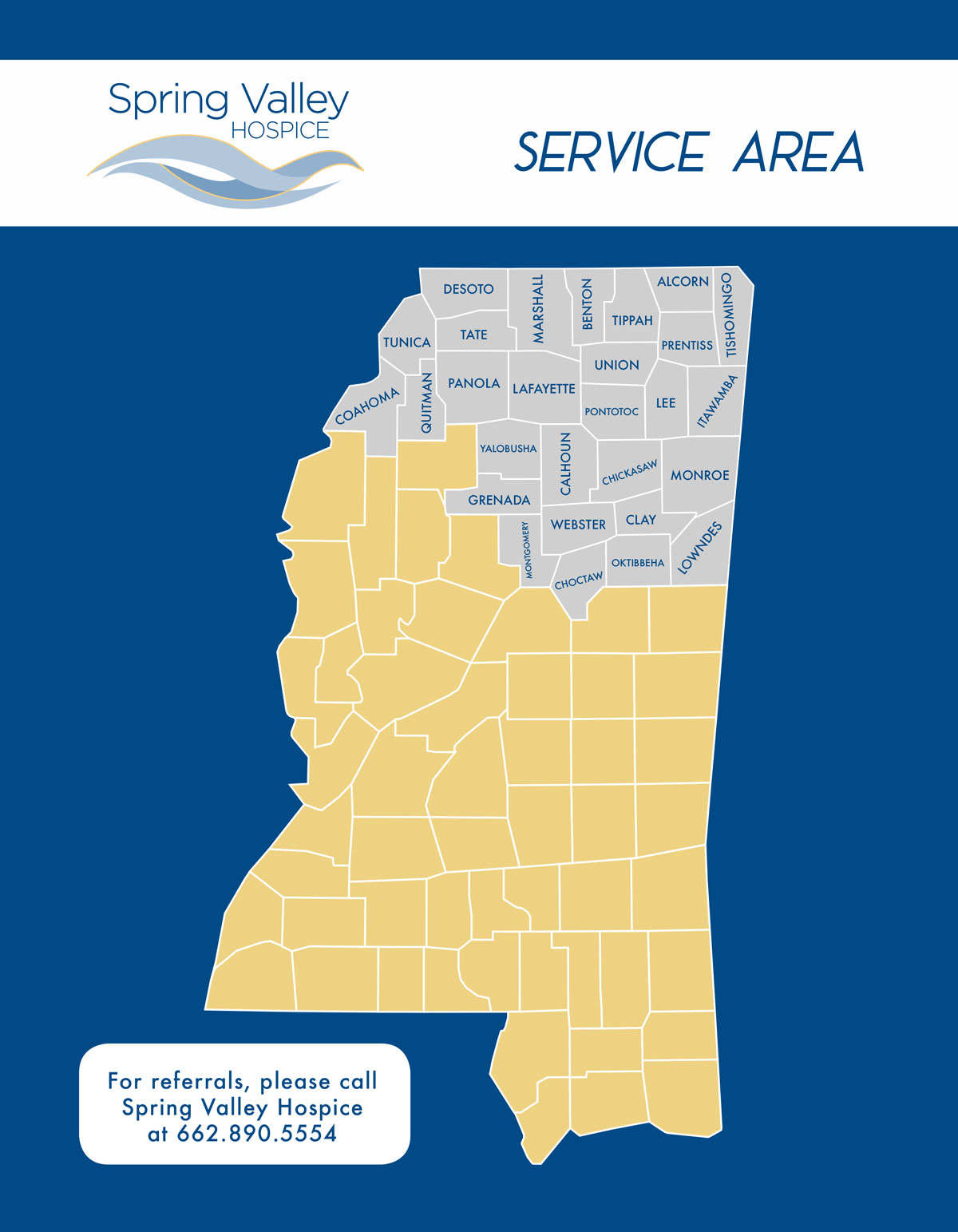 Spring Valley Hospice service area map